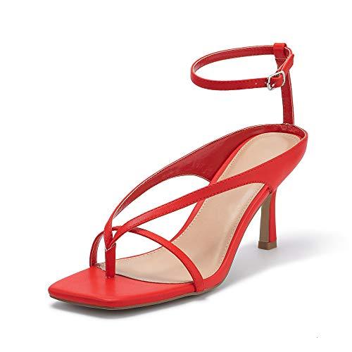 VETASTE Women's Summer Stiletto Heels Ankle Strap Toe Thong Pump Dress Sandals Party Evening Shoes