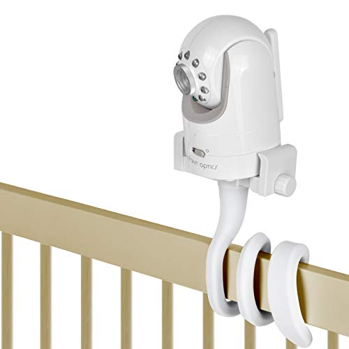 Baby Monitor Mount Camera Shelf Compatible with Infant Optics DXR 8 & DXR-8 Pro and Most Other Baby Monitors,Universal Baby Camera Holder,Attaches to Crib Cot Shelves or Furniture (White)