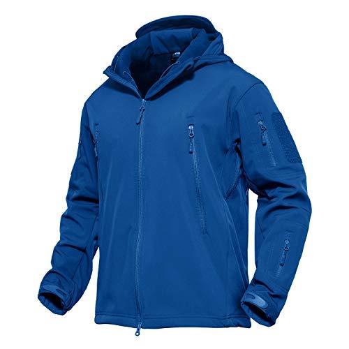 KEFITEVD Jagdjacke Herren Winter mit Kapuze Angelbekleidung Viele Taschen US Army Jacke Frühling Herbst Softshell Jacke Outdoor Tactical Jacke Königsblau XL