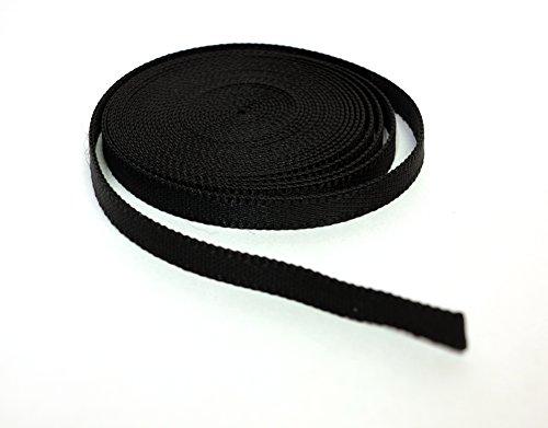 Nylon Webbing Tape voor Helmen, Tassen, Rugzakken, Mode en Accessoires // Zwart, Verschillende Lengtes: 2 m, 5 m, 10 m, 20 m, 30 m, 40 m, 50 m. x H 1.0, 2.5, 4.0 cm.
