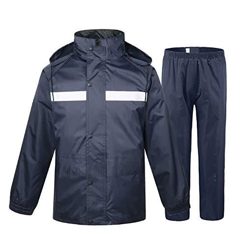 Navy groene regenjas split regenjas dubbel dikke regenjas mannen en vrouwen volwassen regenjas regenbroek pak patrouille veiligheid (Maat: XXXXL185), Grootte: XXXL180 (Size : L165)