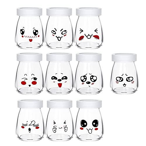10 Pots Yaourt en Verre avec Couvercles Décor émoticône différents, petit Pot Yaourt Enfant pour Yaourtière Yaourt Maison, Contenance 100 ML