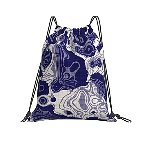 Bolsas náuticas azul swirl Wave On Lino textura fondo (2) mochila con cordón deportivo gimnasio bolsa unisex niños de yoga al aire libre gimnasio natación viaje playa saco saco tamaño único