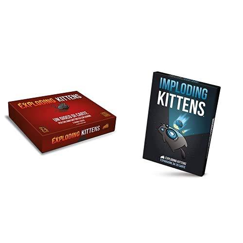 Asmodee Exploding Kittens-Edizione Italiana, 8540 & Imploding Kittens-Espansione Gioco Da Tavolo Edizione In Italiano (8542 Italia), Colore