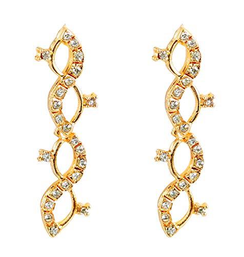 Touchstone impresionante tono Pendientes zigzag diamantes de imitación en oro para las mujeres