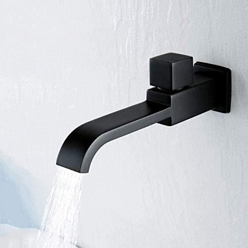 Waterkraan mat zwart vierkant badkamer wastafel waterkraan wandmontage koud water waterkraan badkuip waterval uitloop pot wastafel waterkraan mop zwembad Tap CKMK2835