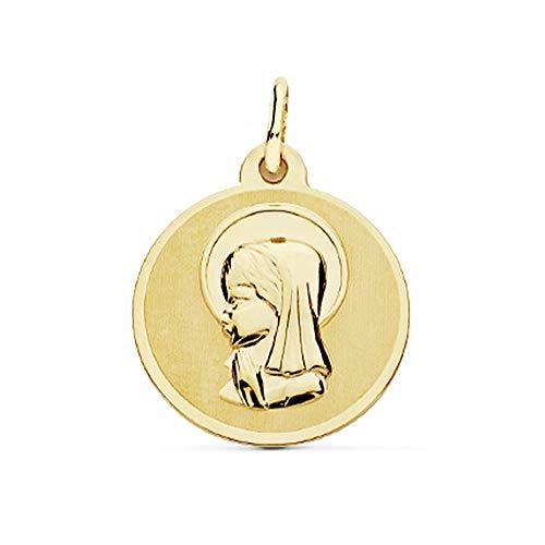 Medalla Oro 18K Virgen Niña 18mm. Borde Brillo [Ac0206Gr] - Personalizable - Grabación Incluida En El Precio