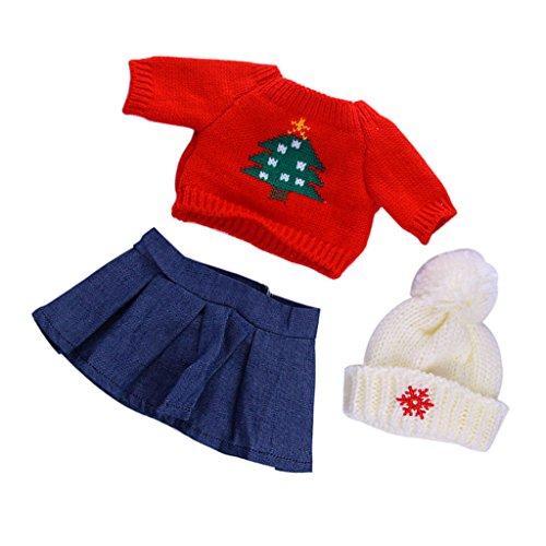 MagiDeal Suéter Rojo Top Falda Azul Sombrero Set de Ropa para 18 Pulgadas Muñeca