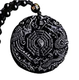 PIERRETOILES Collier Yin Yang Amuleto, Colgante Tao, Bagua, trigrama, dragón y Phenix, obsidiana