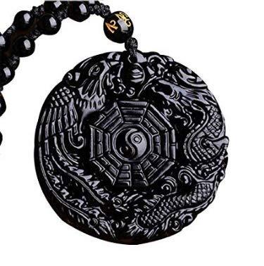 Halskette Yin Yang Amulett, Anhänger TAO, Bagua, Trigramm, Drache und Phenix, Obsidian