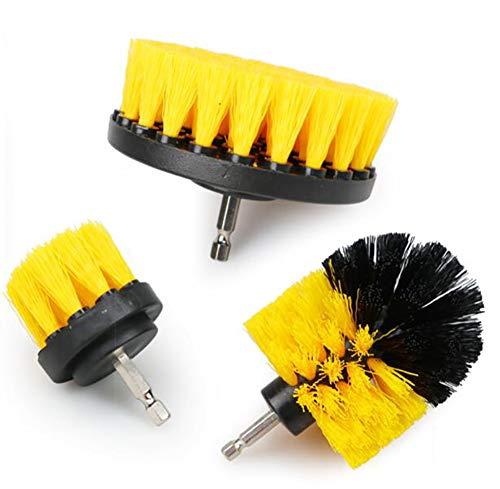 Alger 3 Piezas/Juego 2/3,5/4 Pulgadas Cepillo de Lavado eléctrico Kit de Cepillo de Taladro Cepillo de Limpieza Redondo de Nailon Cepillo de Nailon para alfombras de Vidrio neumáticos de Coche,A