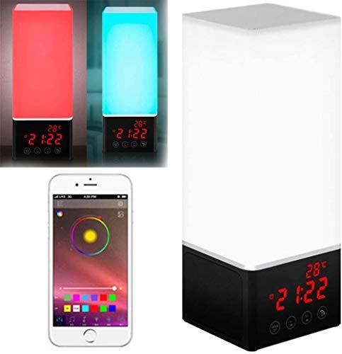 HAOHAO Luz de Alarma de Despertador, 16 Millones de hablantes Bluetooth Luces de Color vigilia de Luces de Estado de ánimo, lámpara de Mesa de Noche de vigilia en la Tarde Bombilla