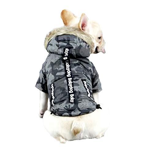 Babydog Hundemantel mit Kapuze, Fleece-Futter und Ärmeln, mit Haken- und Ösenverschluss, Camouflage-Design