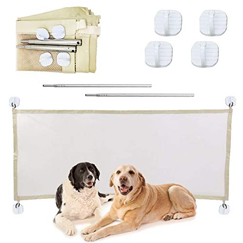 Elinala Cancello per Cani, Cancelletto per Cani da Interno, Rete di Isolamento e Protezione per Animali Domestici Pieghevole e Facile da Installare 110 x 72 CM per Sale, Stanze e Scale (Beige)