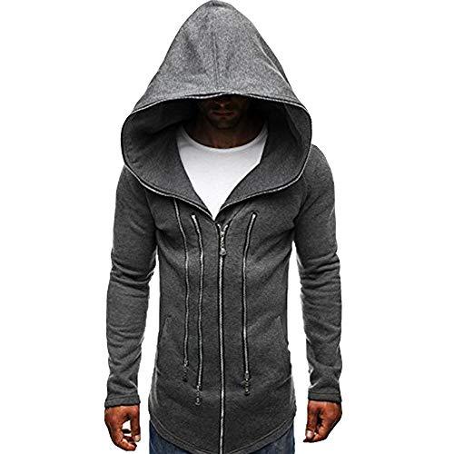 KPILP Mens Herbst Winter Mode Dunkler Umhang Zipper Hoodie Langarm Assassin\'s Creed Zur Seite Fahren Dick Warm Sweatshirt-Mantel(Dunkelgrau, M)