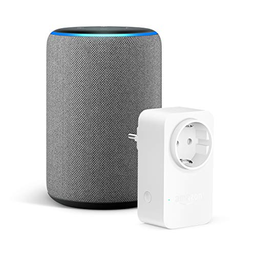 Amazon Echo (3.ª generación), Tela de color gris oscuro + Amazon Smart Plug (enchufe inteligente wifi), compatible con…