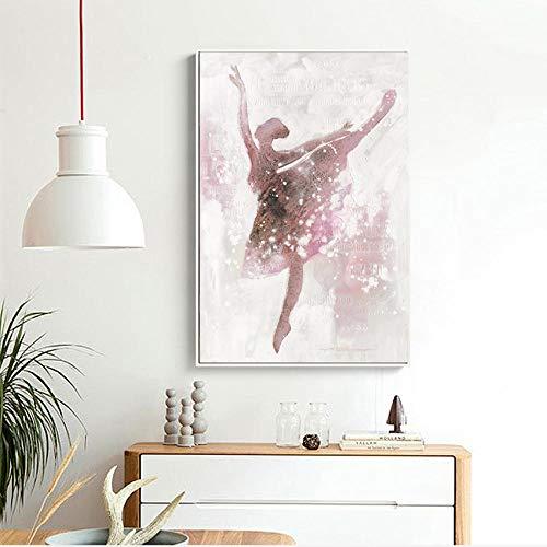 XIXISA Rosa Ballerina Mädchen Leinwand Malerei Nordic Wandkunst Poster Bild Wohnkultur Kinder Schlafzimmer Wohnzimmer Wohnkultur Poster/Ungerahmt / 50x70 cm