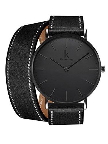 Alienwork IK All Black Damen Herren Armbanduhr Quarz schwarz mit Lederarmband Ultra-flach Slim-Uhr