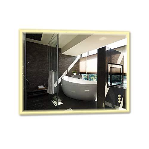 B&C Crystal II 30x36 inch Lighted Bathroom Mirror Wall Mounted High Lumen LED -