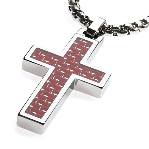 GESTALT COUTURE Unique Tungsten Cross Pendant. Surgical Stainless Steel Box Chain. Red Carbon Fiber Inlay. 22 inch Chain.