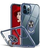 LeYi Funda iPhone 12 / iPhone 12 Pro,Transparente Carcasa con 360 Grados iman Soporte Silicona Bumper Antigolpes Armor Case para Movil iPhone 12,Clear Azul