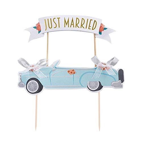 Amosfun net getrouwde auto taart toppers Bowknot taart plukt papier cupcake Decor partij benodigdheden voor bruiloft