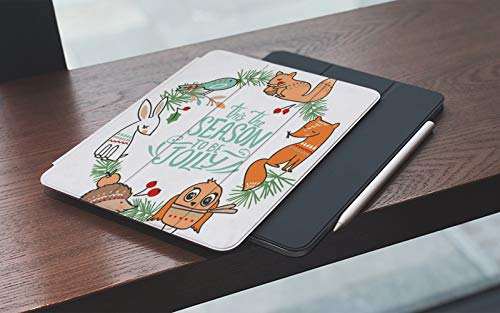 Funda para iPad 10.2 Pulgadas,2019/2020 Modelo, 7ª / 8ª generación,Invierno Animal Elemento Letras Navidad Búho Dibujo Ardilla Texturas Vacaciones, Smart Leather Stand Cover with Auto Wake/Sleep