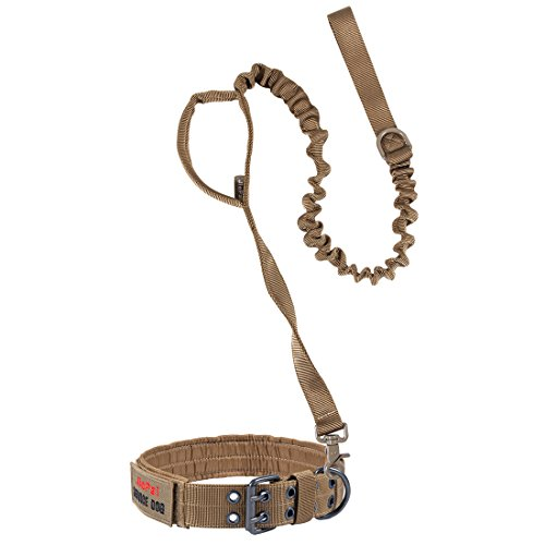 JIEPAI Military Dog Collar and Tactical Bungee Dog Leash Adjustable Nylon k9 Tactical Dog Collar Leash with D-Ring & Buckle for Medium Large Dogs (Coyote Brown,L)