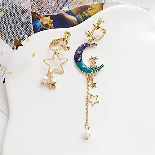 FEARRIN Conjunto de Pendientes para Mujer, joyería desequilibrada de Estrella de Luna, Pendientes Colgantes Colgantes de corazón Colorido para Mujer, Blueclip