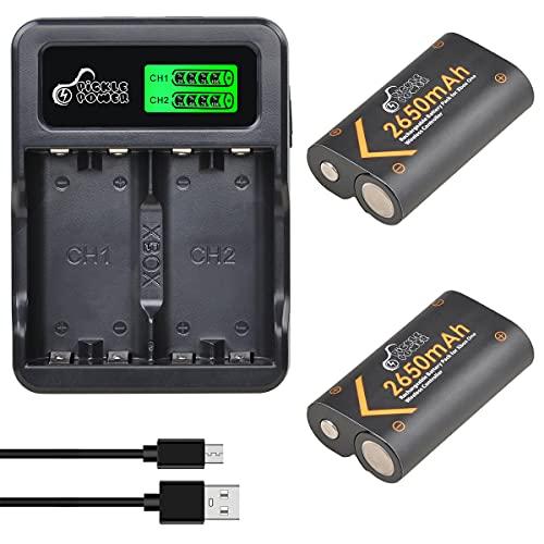 Pickle Power 2 batterie ricaricabili NI-MH da 2650 mAh per controller Xbox One, per Xbox One X/Xbox One S/Xbox One Elite, con cavo USB e micro USB