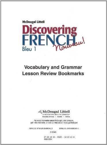 Discovering French Nouveau: Workbook Lesson Review Bookmarks Bleu Level 1 (French Edition)