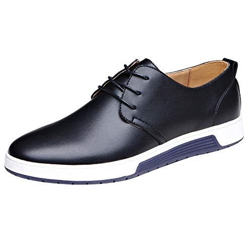 DeHolifer Herren Business Anzugs Schuhe, England Stil Casual Glänzend Spitzschuhe Schnüren Schuhe Männer Wohnungen Sich Männliche Oxfords Männer Hochzeit Klassisch Retro Schuhe Lederschuhe 38-47