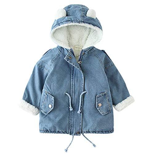 AMIYAN Baby Jungen Winter Denim Jacket mit Fell Gefütterte Winter Jeansjacke Winter Mantel süße Winter Kapuzenjacke Warm Winterjacke Outerwear 1-5 Jahre, 90