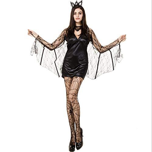 WANLN Vestido de Fiesta de murcilago Negro de Halloween Cosplay Mujer Bat Cloak Disfraz de Vampiro Sexy,S