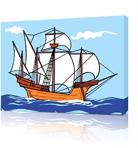 LUOTINGL Pittura A Olio su Tela Regalo per Olio Tela Animazionecielo Blu di Navigazione della Naveconvient pour, Salon, Bureau, Chambre D'Enfant-No Frame-40X50Cm