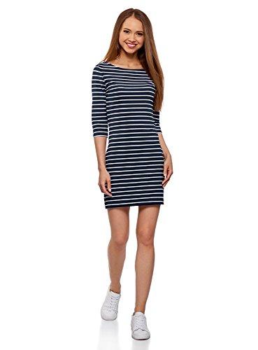 oodji Ultra Damen Baumwoll-Kleid Basic, Blau, DE 34 / EU 36 / XS