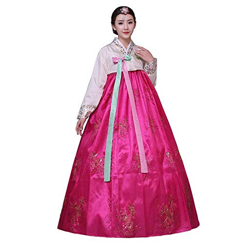 Female Korean Hanbok Traditional Dress Outfit Women Palace Korea Wedding Dance Costume Oriantal Dae Jang Geum Costume for Stage (L, Rose Red)