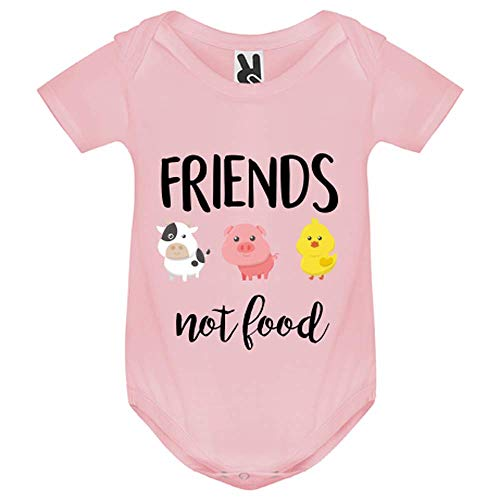 My-Kase Body bébé - Friends Not Food Vegan - Bébé Fille - Rose - 9MOIS