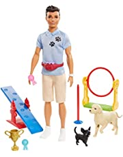 ​Ken Dog Trainer Playset with Doll, 2 Dog Figures, Hoop Ring, Balance Bar, Jumping Bar, Trophy and 2 Winner Ribbon