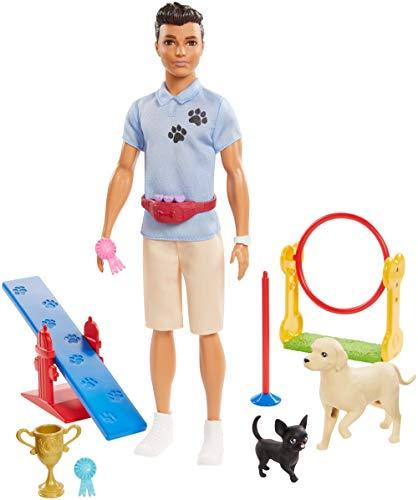 Barbie- Carriere Playset Ken Addestratore di Cani con Bambola e Accessori Giocattolo per Bambini 3+ Anni, GJM34
