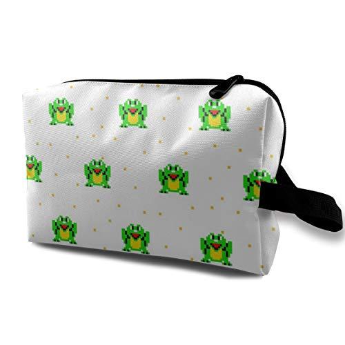 Happy Frog Pixel Art_1600 Kulturbeutel, Kosmetiktasche, tragbar, Make-up-Tasche, zum Aufhängen, für Damen, Mädchen, 25,4 x 12,7 x 15,2 cm