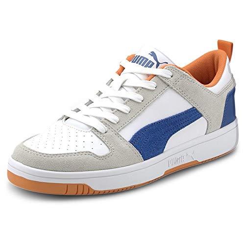 PUMA Rebound Layup Lo SD, Zapatillas Unisex Adulto, Blanco White/Lapis Blue/Vibrant Orange, 36 EU