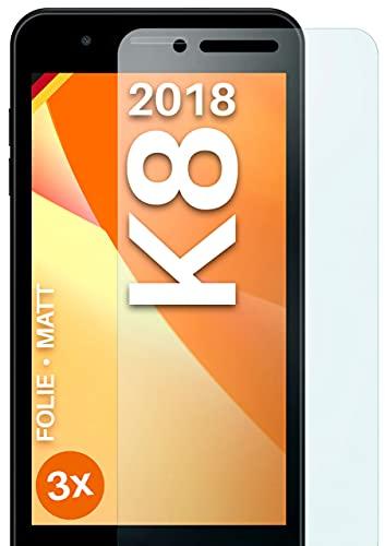moex Schutzfolie matt kompatibel mit LG K8 (2018) - Folie gegen Reflexionen, Anti Reflex Bildschirmschutz, Matte Bildschirmfolie - 3X Stück