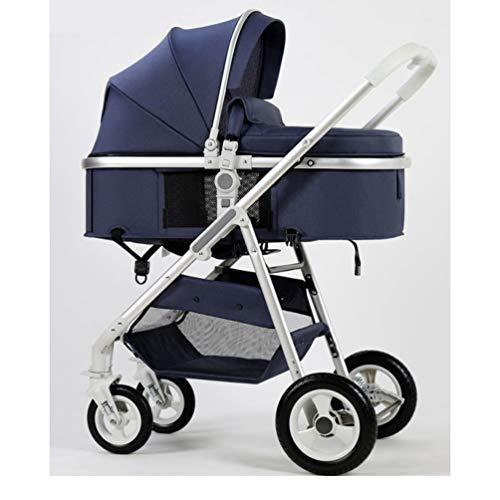 HJF GWC El Cochecito de bebé de Lujo Ligero de Lujo Puede Sentarse, acostarse, doblando Ligeramente el Cochecito de bebé recién Nacido Amortiguador de Dos vías,Blue