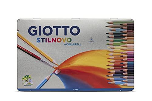 Giotto 256400 - Stilnovo Acquarell Pastelli Acquarellabili Scatola Metallo da 36Colori