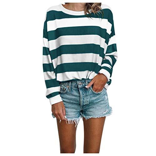 ➤Refill➤Damen Langarmshirt Streifen Langarm T-Shirt Casual Rundhals Tunika Oberteile Tops Freizeit Farbblock Ärmel Pullover T Shirt Locker Sweatshirts