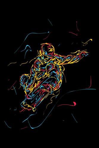 Abstrakte Kunst Ollie FS 180 Kickflip Heelflip: DIN A5 Kariert 120 Seiten / 60 Blätter Notizbuch Notizheft Notiz-Block Skateboard Skater Motive & Geschenkidee