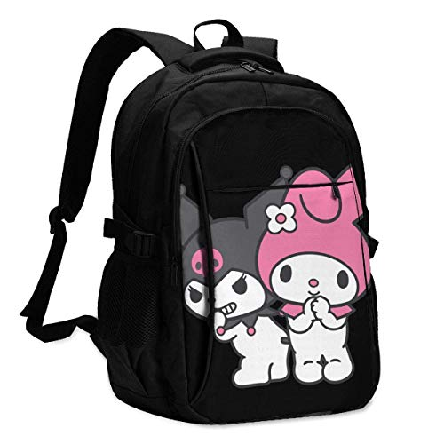 DJNGN Mochila USB Bolsa para portátil My Melody Backpack Personality with USB Backpack Laptop Bag Waterproof Travel Daypack for School