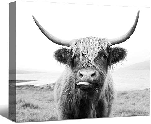 SENEW Animal Canvas Wall Art for Bedroom Living Room Office Black and White Cow Framed Canvas product image