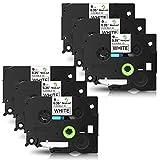 NineLeaf 6 x kompatible Schriftbänder für Brother P-Touch TZe-FX221 Flexibles ID, 9mm (0,35 Zoll)...